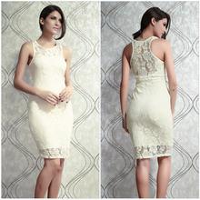 2014 vestido bonito Cheap Wholesale Mulheres Fashion Vestidos sem mangas Joelho de comprimento Lace recorte vestido bege 6174(China (Mainland))