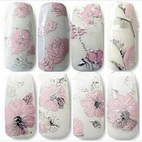 2014 New Elegant 3D Pink Flowers Nail Stickers/High Quality Nail Art Decal Sticker for Women