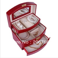Free Shipping NewArrival 3 layers Classic Crocodile PU Leather Jewelry Set Box For Necklace/Bracelet Earring Ring