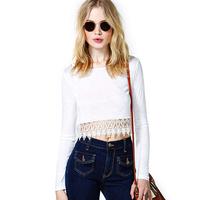 Fashion richcoco van tspj patchwork lace decoration short design bare midriff long-sleeve round neck T-shirt d318