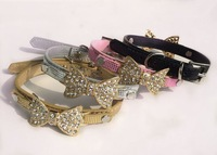 3 Sizes Beautiful Rhinestones bow crocodile pu leather pet collar dog collar