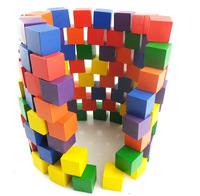 Multicolour 100 multicolour wooden building blocks log 2.5cm