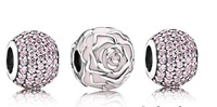 925 Sterling Silver Sparkling Rose Charm Bead Sets Fit European Jewelry Bracelet Necklaces