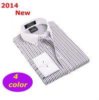2014 Men  Business casual shirt   Brand slim Fit  stripe  long  sleeve Modal   camiseta shirts mdzsc001-4  XS S M L XL XXL XXXL