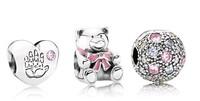 925 Sterling Silver Pink Enamel Girl Bear Charm Bead Sets Fit European Jewelry Bracelet Necklaces