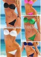 Free Shipping 2014 New Arrival! Hot Sale Sexy Girl&lady Padded Boho Strapless Pendant Bikini Swimwear Swimsuit
