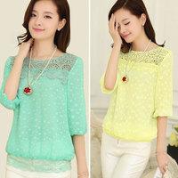 2014International women's spring fashion brand casual shirts lace puff sleeve chiffon blouse women clothing