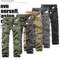 2014 new arrival free shipping special Korean men's casual pants overalls men multi-pocket trousers loose Korean men