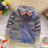 New Style!Spring and autumn,Children baby boys fashion Plaid white dot bow shirts,KV1187