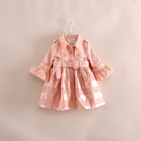 hot sale!high quality brand children girl flower princess tutu trench coat wind jacket with belt pink beige blue