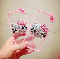 Cute  Fashion  Bling Rhinestone Diamond Crystal 3D Hello Kitty Shell for iphone 5s 4s 5g 4g Mobile Phone Slim Untra Thin Case