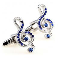 High Quality Brazil Hot Sale Brass Shirts Gemelos Mens Promotion Blue Crystal Music Note Make Custom Crystal Cufflinks