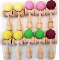 Fedex/DHL, free shipping Rubber Paint Kendama Toy Japanese Traditional Wood Game Kids Toy Made of Beech, 150PCS