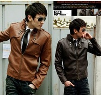 New fashion Korean Slim Casual Men Clothing PU leather wallet motorcycle man jacket kepi jaquetas de couro male 2014 S-XXL