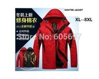 NEW 2014 winter down Brand Man's Outerwear Slim Hooded cotton Jacket Men Warm Coat Comfortable clothes parka k811 XL--8XL