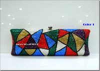 2014 NEW Style Luxury Crystal Woman/Lady handbags Evening Bag Metal Chain Clutch Bride package Party bag  6 Colors FREE SHIPPING