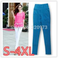 S-4XL size 2014 Autumn new fashion Korea style plus size women cotton blends candy color high waist pencil pants trousers