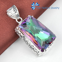Top fashion 2  colors jewelry for women  Vintage  style  square shape  rainbow  fire crystal pendants silver  plated
