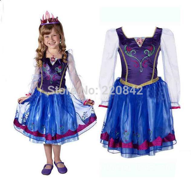 New 2014 Frozen Elsa Anna girl one piece dress 2-7T kid Girls children DRESS costume summer(China (Mainland))