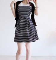 2014 HOT Fashion Women's Stripe Slim O-neck Sleeveless One-piece Dress Female Vest Basic Dresses