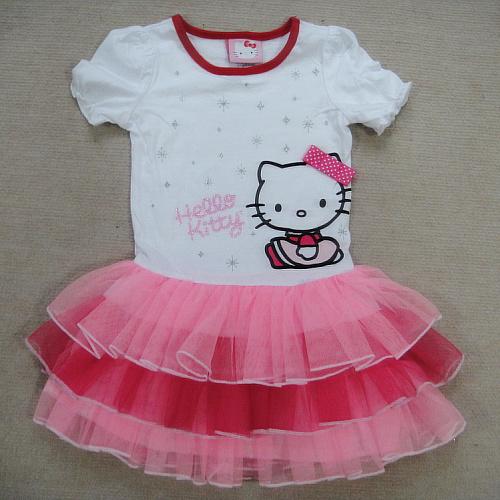 Children Summer dress  HELLO KITTY    dress   girls  princess dress   size  4 5 6 6X(China (Mainland))