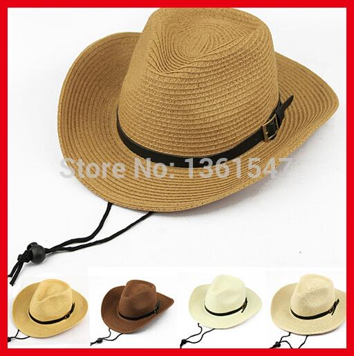 100pcs/lot EMS Free Shipping Wholesale Sun Protection Unisex Summur Hats 5 Colors Folding Straw Cowboy Hat(China (Mainland))