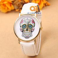Quartz Woman Dress Fashion flower skull Style men women Wristwatch Leather Strap hot selling Watches G-8013#