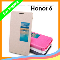 Original Nillkin side flip Leather case For Huawei honor 6 Sparkle Series  + Sleep/wake up ++ 10pcs/lot   package freeship