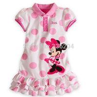 Retail new 2014 hot sale children clothing girl's MINNIE short-sleeve dress princess dot dresses