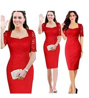 Elegant Womens Short Sleeves Evening Cocktail Party Pencil Lace Dress Red