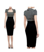 Women Elegant Square Neck High Waist Bodycon Houndstooth OL Dress