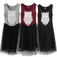 Brand New Elegant Women's Embroidery Dress Design Owl Pattern Casual Dresses O Neck Empire  Straight Sleeveless  Sundress