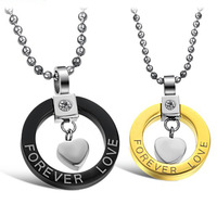 Perfect Technology 'FOREVER LOVE' Gift 316L Stainless Steel Black And Plating Gold Lovers Pendant Necklace,Inlaid Rhinestone CZ