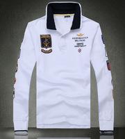 Hot Selling Mens Fashion Brand Tshirt High Quality AERONAUTICA MILITARE Embroidery Camisas Masculina Slim Long Sleeve T-shirt