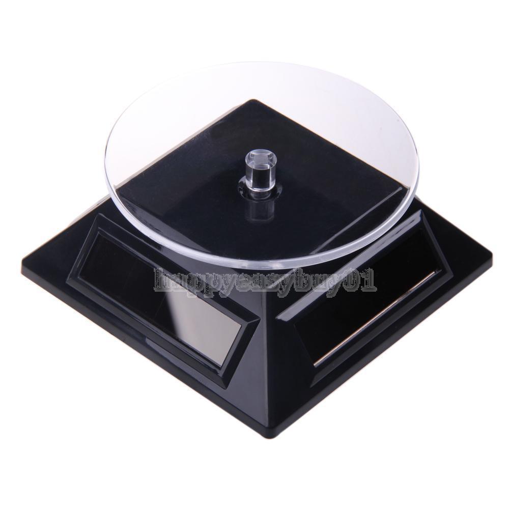 Mini 4 Panels Solar Powered Turn Table Rotary Stand Jewelry Watch Cellphone Display Rotary Stand Black BHU2(China (Mainland))