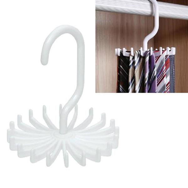 3PCS Free Shipping Adjustable 20 Hook Rotating Men Belt Scarf Tie Rack Organizer Hanger Holder Plastic Gift(China (Mainland))