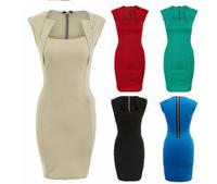 New Fashion 2014 Summer Elegant Celeb Square Neck Knee-length Fitted Shift Zipper Women Stretch Bodycon Slim Sheath Pencil Dress
