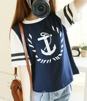 New 2014 Summer Fashion  Sisters Clothing Anchor Print O-Neck Short Sleeve Loose Short Tops girl t shirt women Free Shipping