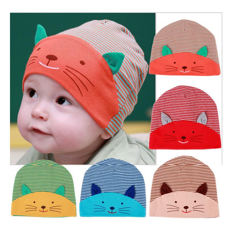 New Baby Cap Fashion Infant Hat Boys & Girls Skull Cat Hats Kids Hats Children Cotton Homies Animal Caps free shipping(China (Mainland))