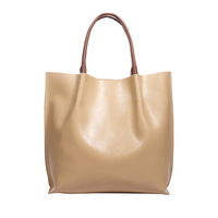 New Womens Genuine Leather Handbag Cowhide Beige Khaki Shoulder Bags Large Capacity Totes Natural Leather Designer Ladies Bag