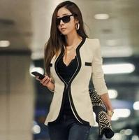 New 2014 Fashion Women's Korean style boutique small suit jacket  Long Sleeve V-Neck Black White One Button slim Blazer
