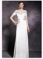2014 new fashion,Noble elegant,white, sequins,transparent gauze,Boat neck,cap sleeve slim floor-length evening dress 30295