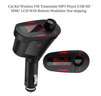 Free Shipping,Car Kit MP3 Player,W/ Wireless FM Transmitter Modulator USB SD MMC LCD remote control rty +Red Remote Car styling