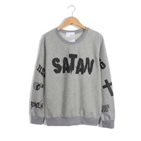Spring 2014 European and American minimalist graffiti alphabet SATAN loose long-sleeved sweater
