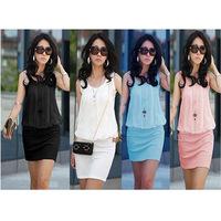 100% Cotton Fold neck package hip OL commuter knit vest  women dress