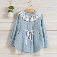 2014 New,girls denim dress,children autumn princess dress,long sleeve,lace collar,pocket,cotton,5 pcs / lot,wholesale,1536