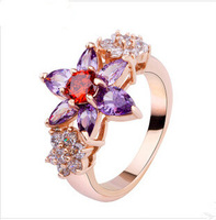 Luxury 18K Gold Plated Flower Finger Rings with Purple and Red Zircon for Women Wedding Bijouterie R924