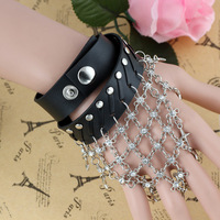 2014 New Arrival Free Shipping 21mm Unisex Punk Starry Cross Wrapped Leather Bracelet(10Pcs)(Black)35094#