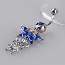 New Three Blue Crystal Butterflies Pendant Navel Ring Nail Body Piercing KK#Y