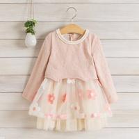 2014 New,girls floral dress,children autumn princess dress,long sleeve,beaded collar,embroidery,5 pcs / lot,wholesale,1537